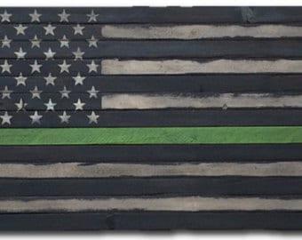 Thin Green Line Flag Etsy