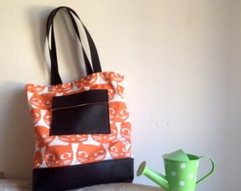 Viviana-cotton bag and faux leather with external Pocket