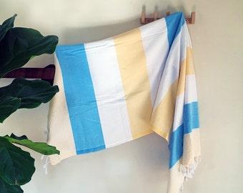 Cemile | Blue Yellow White | Turkish towel