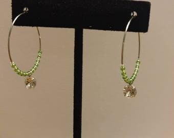 Green Japanese Glass Seed Bead and Czech Glass, Stainless Steel Hoop Earrings with Swarkofski Element
