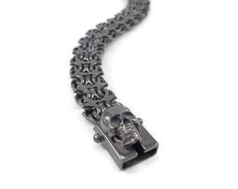 mens black bracelet, skull silver bracelet, mens skull bracelet, black skull bracelet, unique mens bracelet, black bracelet, skull bracelet