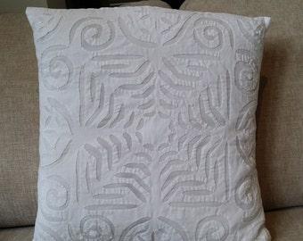 "SALE - Handmade all white cut work/aplique pillow, cotton voile square pillow cover - 16"" x 16"""
