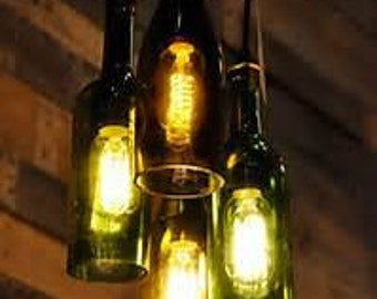 wine bottle chandelier etsy. Black Bedroom Furniture Sets. Home Design Ideas