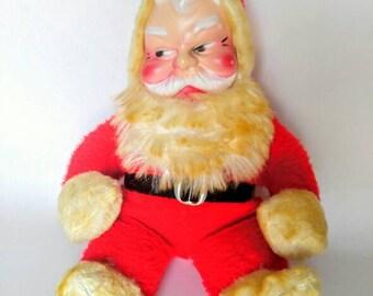 Vintage christmas stuffed santa clause doll, retro christmas decor, old santa decor, christmas vintage decor, creepy santa doll
