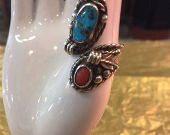 Sterling silver, turquoise and coral ring
