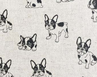 French Bulldog fabric - Boston Terrier fabric - dog fabric - cotton linen natural - Japanese Kudo fabric - puppy fabric