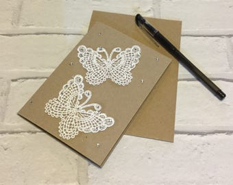 Lace butterfly birthday card
