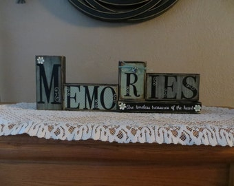 Memories Wood Blocks Family Past Remembering Good Times Children Holidays Special Occasions Friends Treasures Heart