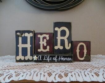 Hero Wood Blocks Proud Military Honor Love Family Specialty Blocks Home Decor Life