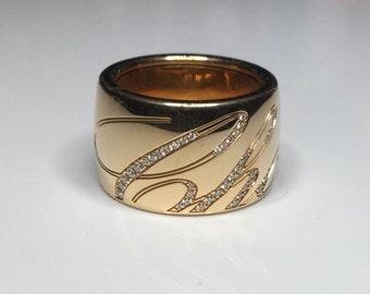 Chopard 18K Rose Gold Diamond Chopardissimo The Revolving Signature Ring Size 53