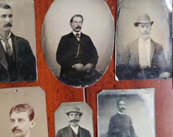 Manly Men With Mustaches:  Lot of 6 Antique Tintype Photographs of Mustachioed Maleness