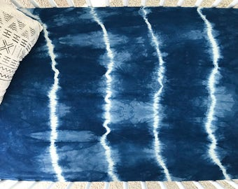 "100% Organic Cotton Crib Sheet -- Indigo Shibori ""Striped"""