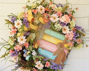 SALE - Easter Wreath, Easter Bunny Wreath, Spring Wreath