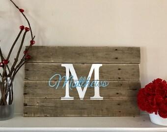 Monogrammed wooden pallet sign
