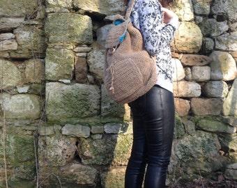 Handmade Funky Bright Blue Organic Hemp Backpack