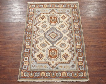 5X8 Kazak Karajeh Beige Area Rug (5 x 7.11) Hand-Knotted Oriental Wool Traditional Carpet
