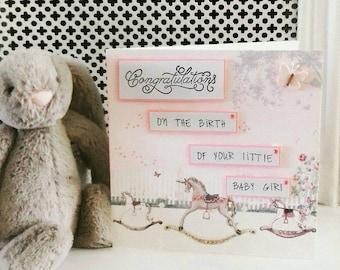 Handmade baby girl card, congratulations it's a girl,  pink baby card