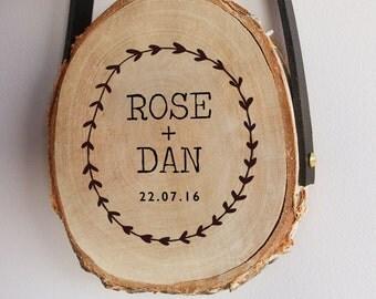 Personalised wedding decorative wood slice