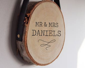 Custom Mr and Mrs wedding wood slice
