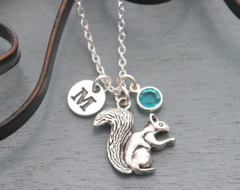 Squirrel Necklace, Personalized Squirrel Necklace, Silver Squirrel Necklace, Initial Necklace, Squirrel Jewelry, Squirrel Gifts, Custom