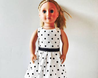 "18"" Doll Dress White With Black Polkadots Summer Dress, 18"" Doll Dress, 18"" Doll Polkadot Dress, 18"" Doll Clothes, 18"" Doll fashion"
