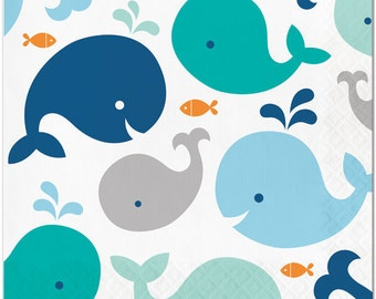 Sweet Whale Luncheon Paper Napkins/ Baby Boy Whale Baby Shower Napkins/ Whale Party Napkins/ Whale Baby Shower