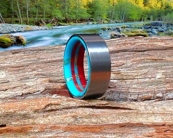 Fine Mens Ring, Wood Wedding Band, Tungsten Wedding Band, Turquoise Band Beautifully Handmade From Wild Cherry and Turquoise - Waterproof!
