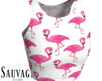 Flamingos - Athletic pink and white Crop Top • Festivals and yoga classes approved • handmade in Montreal