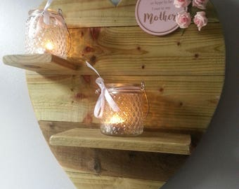 Valentines/ Mothers day or Christmas gift idea. Rustic heart shaped, T light shelves, wooden wall decor. Message can be changed.