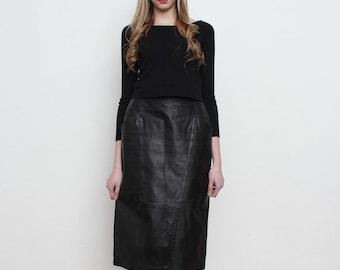 Vintage Black Leather Midi Skirt/ Size 38