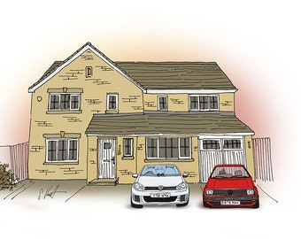 House with Two Cars: Hand Drawn Homes
