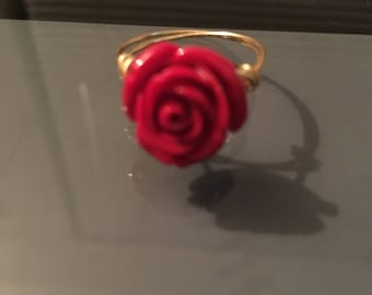 Gold wire wrapped rose ring.