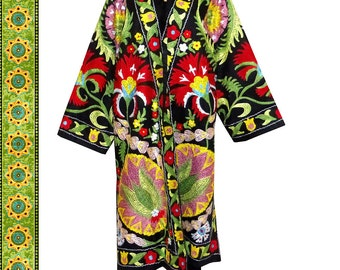 beautiful special silk embroidered Uzbek long jacket coat robe chapan outwear in Ottoman style Must see! B232