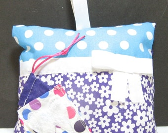 Funky Flower and Polka Dotted Hand Made Tooth Fairy Pillow for Girls - Blue/Purple
