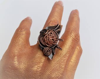 Copper Wire Ring, Statement ring, Wire wrapped jewelry, Wire wrapped ring, Art ring, Boho ring, Abstract ring, Rustic ring, Unusual ring