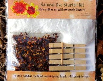 Natural Dye Starter Kit with coreopsis flowers