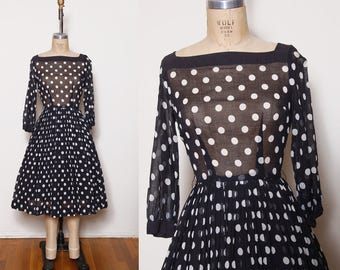 Vintage 50s polka dot dress / black and white Lucy dress / fit and flare dress / sheer pin up dress / Nancy Greer dress