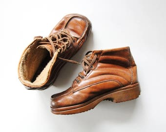 Vintage 1970's Romanian Brown Leather Heeled Lace Up Hiking Boots / Chunky Work Booties / 70's Style Shoes / Worn in Ankle Boots