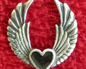 Gothic Heart and Wings Sterling Silver Pendant - Vintage
