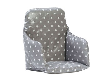 High Chair Cushion Insert   Super Snug, Supportive And Wipe Clean   Soft  Grey Stars
