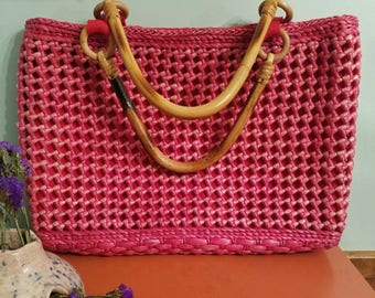 Vintage 1960s Pink and Red Straw Bag with Bamboo Handles