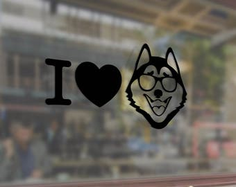 I LOVE HUSKY Vinyl Stickers Decals Bumper Car Auto Computer Phone Mobile Laptop Wall Window Glass Skateboard Snowboard Helmet