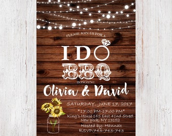 I Do BBQ Couples Shower Invitation, BBQ Couples shower, Bbq Invitation, I Do BBq Invite, I Do Bbq,Rustic Wedding shower Invitationd 190