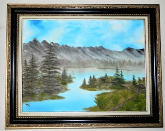 Oil painting landscape,Favorite mountain lake