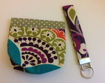 Snap coin purse and key ring set