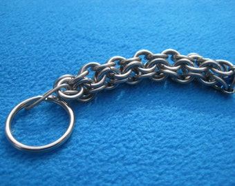 Inverted Roundmaille - Steel Chainmaille - Chainmaille Keychain - Inverted Round - Chainmaille Key Ring - Masculine Keychain -Gents Key Ring