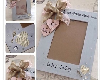 Shabby vintage personalised photo frame any colour 7x5 gift vintage style