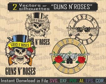 Silhouettes Guns N Roses for cut or print, Band cut rock decorative vinyl, vector guns Roses, svg file, clip art cut and print, digital art