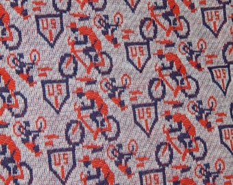 Fabric - Bicycle 'US 1' Print on heavy knit from the 70's