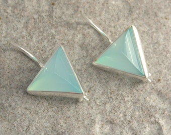 Sterling silver earrings with chalcedony stone